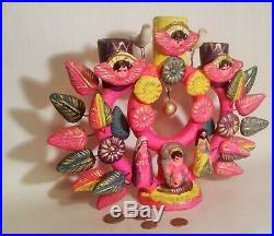 NATIVITY vtg mexican tree of life art pottery sculpture xmas santos candleholder