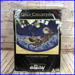 NEW Dimensions Gold Collection Cross Stitch Xmas Tree Skirt Here Comes Santa Vtg