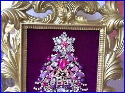 New Vintage Look Gold Frame Pink Purple Jeweled Rhinestone Christmas Tree Art