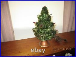Nice Vintage 1950s Tabletop Christmas Tree Visca, Glass Candles & Orig Base