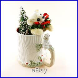 OOAK 2016Christmas Bear-kin by Janie Comito in Vintage Polar Bear Cup with Tree