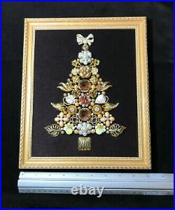 OOAK 9 x 11 Vintage Framed Costume Jewelry Christmas Tree Rhinestone Wall Art
