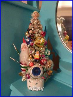 OOAK Christmas Bottle Brush Tree in Vintage Holt Howard Pixie Mug Plus Girl