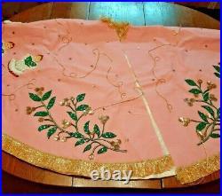 OOAK Vintage Handmade Christmas Tree Skirt Angels Sequins 30 diameter lined