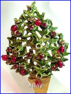 ORIGINAL BY ROBERT GREEN CHRISTMAS TREE BROOCH RED Dangly Balls VINTAGE FAB