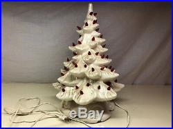 Old Vintage Ceramic Christmas Holiday WORKING Tree 15 Tall With Red Lights