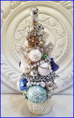 Old vtg SNOWMAN planter bottle BRUSH tree Ornaments indent silver xmas pins ++