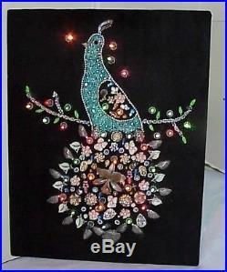 Ooak! Vintage Lighted Jewelry Christmas Partridge Bird In A Pear Tree Wall Art