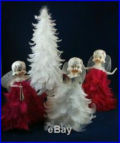 Org Vintage Howard Holt Feathered Pink & White Angels- Tree- Christmas- Japan