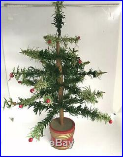 Original Antique Vintage German Goose Feather Christmas Tree 16 Old Green