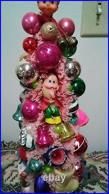 Pink Bottle Brush Christmas Tree With Vintage Mercury Glass Ornaments 14 Tall