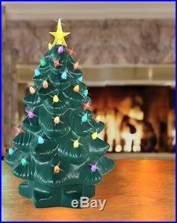 Porcelain Christmas Nostalgic Tree Table Top LED Lights Timer Green or White