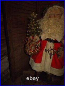 Primitive Santa claus, Vintage christmas tree, christmas ornaments. Handmade
