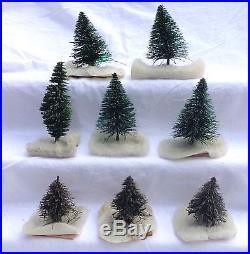 Putz Village Green Mini Christmas Artificial Trees Poles Metal Wood Base Vintage