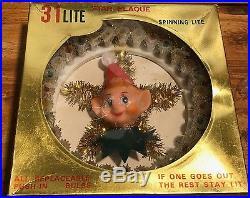 RARE 1960s Vintage Knee Hugger Pixie Elf Christmas Tree Topper in Box Flashing