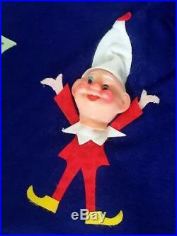 RARE Blue Vintage 1960's 50's Felt Pixie Elf Elves Christmas Tree Skirt Xmas