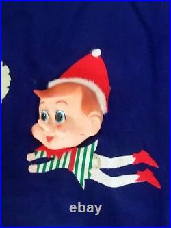 RARE Blue Vintage Felt Pixie Elf Elves Christmas Tree Skirt Xmas