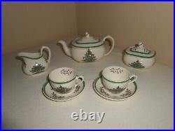 RARE HTF Child's Tea Set in Spode China Christmas Tree Pattern 9 piece vintage