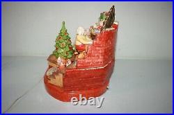 RARE HTF Vintage Ceramic Christmas Tree Santa Claus Elf House Snow Lighted Organ