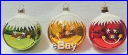 RARE Set 6 Vintage 3 SMILEY FACE Mica Mercury Glass Xmas Tree Ornaments #2028