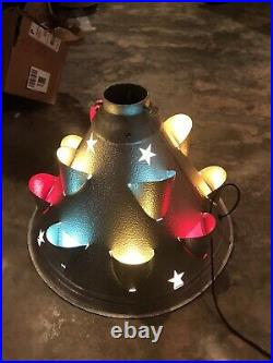 RARE VINTAGE CHRISTMAS TREE STAND METAL CONE LIGHTED with STARS. Unusual & SUPERB
