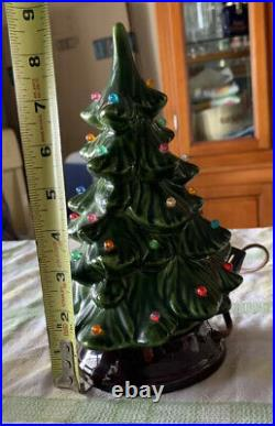 RARE VINTAGE Ceramic Christmas Tree 9 1/4 Inch Signed Holland Mold Lighted