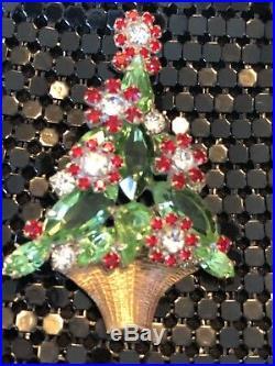 RARE VINTAGE Christmas Tree RHINESTONES COLLECTOR BROOCH PIN