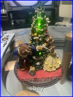 RARE VINTAGE DISNEY BEAUTY AND THE BEAST CHRISTMAS TREE STATUE Music & Lights 8