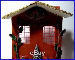 RARE VTG 1920s Christmas GREETINGS Santa Claus Reindeer Tree Holly Velvet Flock