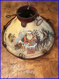 RARE VTG 1930's NOMA LIGHTED TIN LITHO SANTA REINDEERS XMAS TREE STAND