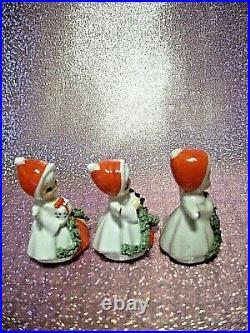 RARE VTG 3 Napco Miniature Christmas Angel Girl Gift Cane Tree Gift Figurine Set
