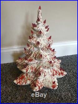 RARE Vintage 17 Ceramic Atlantic Mold White with Red Splatter Christmas Tree