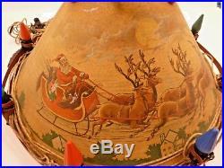 RARE Vintage 1930's NOMA Tin Litho Santa Reindeer Xmas Tree Stand withFence Lights