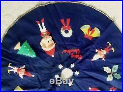 RARE Vintage 1960's 50's Felt Pixie Elf Elves Christmas Tree Skirt Xmas