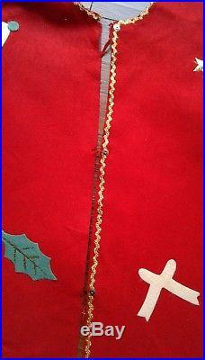 RARE Vintage 1960's Felt Pixie Elf Elves Christmas Tree Skirt Xmas Free Ship