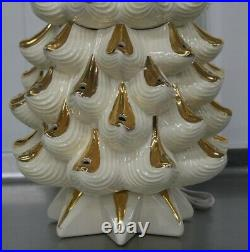 RARE Vintage Ceramic Christmas Tree White With Gold 32 Tall Atlantic Mold Star
