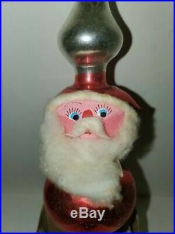 RARE Vtg Christmas Blown Mercury Glass Santa Tree Topper Handpainted Columbia