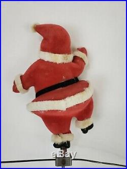 RARE Vtg Christmas Tree Decoration SANTA'S SLEIGH RIDE Mechanical Ornament 1950s