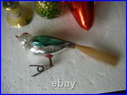 RRR RARE 7 Antique Vintage Glass Christmas Ornaments Tree Decorations