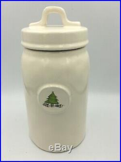 Rae Dunn Oh Christmas Tree Canister VTG M Magenta 8 Tall Rare