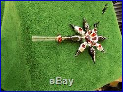 Rare Antique/Vintage Blown Glass Indented Star Christmas Tree Topper