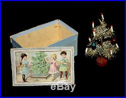 Rare Antique Vintage Christmas tree in Box Dollhouse size Germany