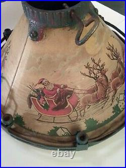 Rare Antique Vntg Tin Litho Metal Christmas Tree Stand Skirt, wired DC Current