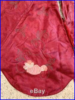 Rare New Vintage Disney Christmas Tree Skirt Embroidered Dumbo Mickey Tinkerbell