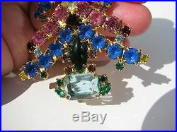 Rare Vintage Angel Topper Openback Emerald Cut Rhinestones Christmas Tree Brooch