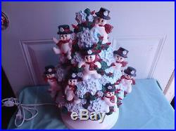 Rare Vintage Ceramic Lighted Christmas Tree With Snowman