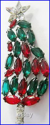 Rare Vintage Christmas Tree Pin Never Seen Before Vibrant Rs Navette Cabochons