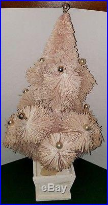 Rare Vintage Consolidated Novelty Co Pink Bottle Brush Table Top Christmas Tree