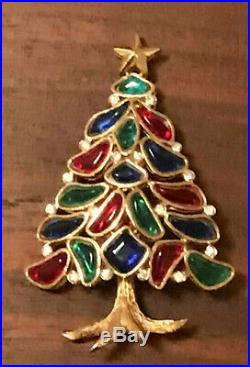Rare Vintage Crown Trifari Christmas Tree Pin Brooch! Book Piece