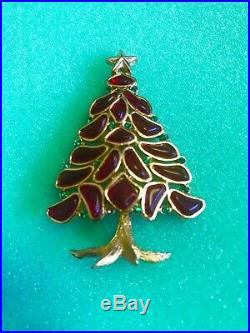 Rare Vintage Crown Trifari Red Christmas Tree Brooch Pin Excellent Condition